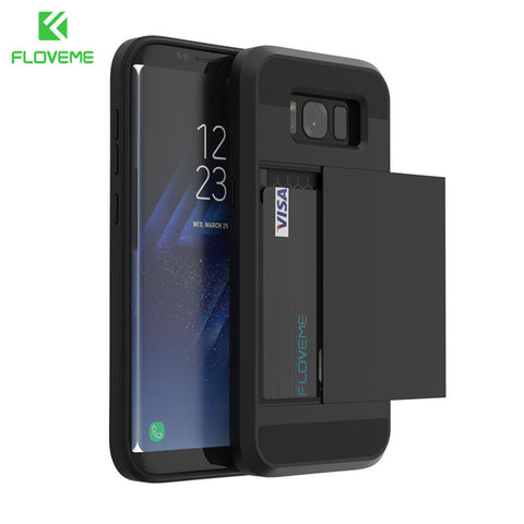 FLOVEME Armour Case with Sliding Credit Card Slot For Samsung Galaxy Phones