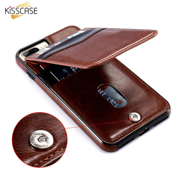 KISSCASE Leather Vertical Flip Pouch Wallet Case for iPhone 6, 6 Plus, 6S, 6S Plus, 7, 7 Plus, 8, 8 Plus, X, XR, XS, XS Max