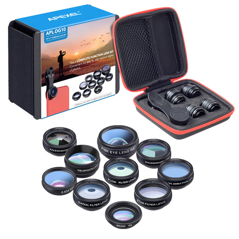 APEXEL 10-in-1 Clip-on Phone Camera Lens Kit - Fisheye, Wide Angle, Macro, Telescope, Kaleidoscope, Radial Filter, Flow Filter, Star Filter, CPL Lens