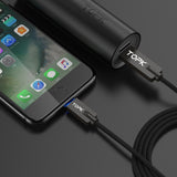 TOPK LED Light Durable Nylon Braided Lightning to USB Cable For Apple Products