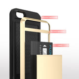 FLOVEME Armour Case with Sliding Credit Card Slot For iPhone 4, 4S, 5, 5S, 5C, SE, 6, 6S, 6 Plus, 6S Plus, 7, 7 Plus, 8, 8 Plus, X