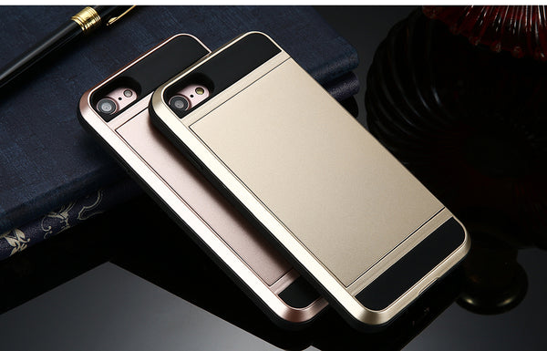 FLOVEME Armour Case with Sliding Credit Card Slot For iPhone 5, 5S, 5C, SE, 6, 6S, 6 Plus, 6S Plus, 7, 7 Plus, 8, 8 Plus, X