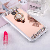 OLOEY Shiny Mirror Ring Grip Case with Diamonds For Samsung Galaxy Phones