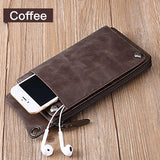 Sendefn Women's Long Genuine Leather Wallet Purse with Universal Phone Pocket