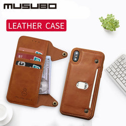 Musubo Luxury Leather Case With Detachable Flip Wallet and Screen Protector For iPhone 6, 6 Plus, 6S, 6S Plus, 7, 7 Plus, 8, 8 Plus, X