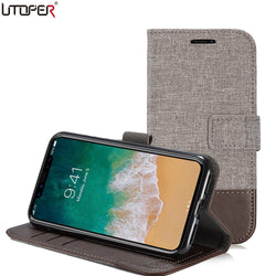 UTOPER Business Leather and Canvas Design Case for LG G5, G6, V20, V30