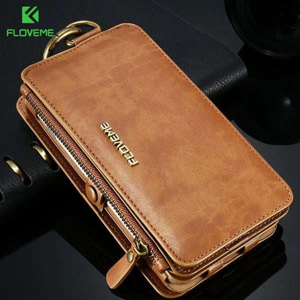 FLOVEME Luxury Leather High Capacity Double Flip Wallet Case For iPhone 5, 5S, 5C, SE, 6, 6 Plus, 6S, 6S Plus, 7, 7 Plus, 8, 8 Plus, X, XR, XS, XS Max, 11, 11 Pro, 11 Pro Max, 12 Mini, 12, 12 Pro, 12 Pro Max