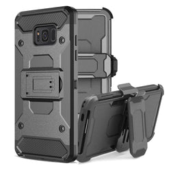 LANCASE Armour Case with Belt Clip Kick-stand For Samsung Galaxy S8, S8 Plus, S9, S9 Plus
