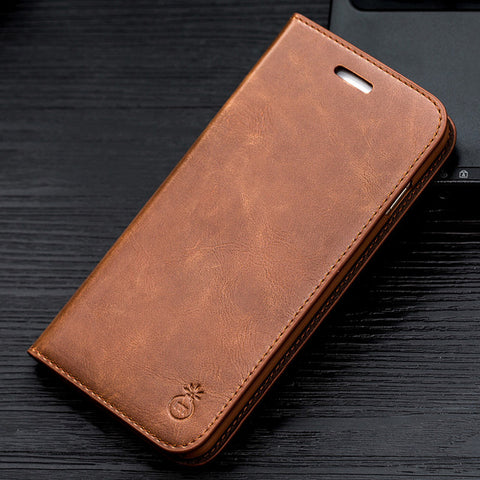 Musubo Luxury Leather Flip Wallet Case For iPhones and Samsung Galaxy Phones with Screen Protector