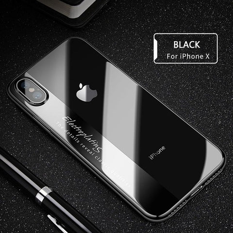RAXFLY Luxury Transparent Case with Plated Frame For iPhone 6, 6 Plus, 6S, 6S Plus, 7, 7 Plus, 8, 8 Plus, X, XR, XS, XS Max