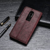 Vintage Style Luxury Leather Flip Wallet Case for OnePlus 6