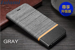 Lulumi Canvas Fabric and Leather Flip Wallet Case for Sony XA2, XA2 Ultra