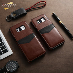 KISSCASE Leather Vertical Flip Pouch Wallet Case for Samsung Galaxy S6, S6 Edge, S7, S7 Edge, S8, S8 Plus, S9, S9 Plus, Note 9