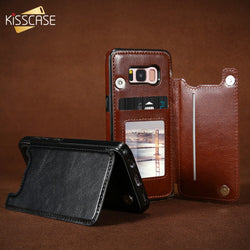 KISSCASE Magnetic Flip Wallet Leather Case for Samsung S7, S7 Edge, S8, S8 Plus, S9, S9 Plus, Note 8, Note 9