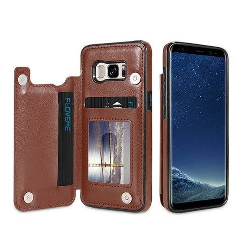 KISSCASE Magnetic Flip Wallet Leather Case for Samsung S7, S7 Edge, S8, S8 Plus, S9, S9 Plus, S10E, S10, S10 Plus, Note 8, Note 9