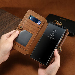 FLOVEME Luxury Leather High Capacity Double Flip Wallet Case For Samsung Galaxy S6, S6 Edge, S6 Edge Plus, S7, S7 Edge, S8, S8 Plus, S9, S9 Plus, S10, S10E, S10 Plus, Note 3, Note 4, Note 5, Note 8, Note 9