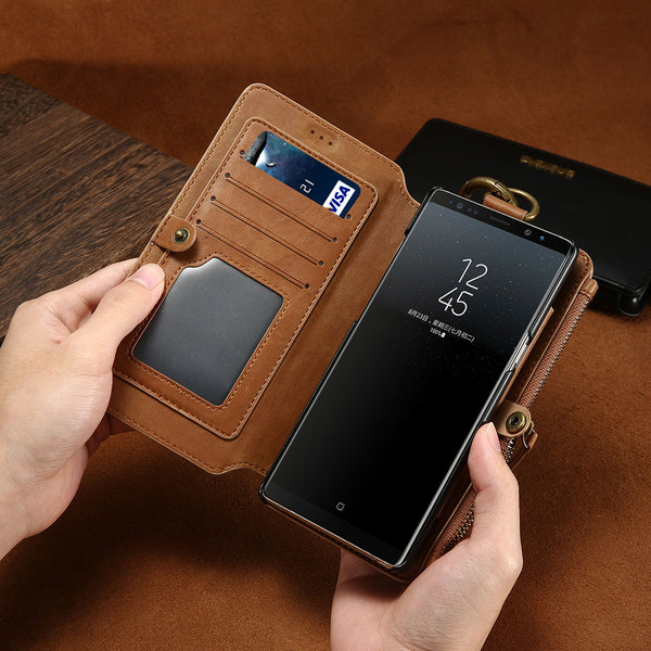 FLOVEME Luxury Leather High Capacity Double Flip Wallet Case For Samsung Galaxy S6, S6 Edge, S6 Edge Plus, S7, S7 Edge, S8, S8 Plus, S9, S9 Plus, S10, S10E, S10 Plus, S20, S20 Plus, S20 Ultra, Note 3, Note 4, Note 5, Note 8, Note 9, Note 10, Note 10 Plus