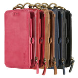 FLOVEME Luxury Leather High Capacity Double Flip Wallet Case For Samsung Galaxy S6, S6 Edge, S6 Edge Plus, S7, S7 Edge, S8, S8 Plus, S9, S9 Plus, S10, S10E, S10 Plus, Note 3, Note 4, Note 5, Note 8, Note 9, Note 10, Note 10 Plus