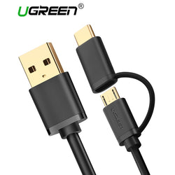 Ugreen Micro USB and USB Type C 2-in-1 Charging Cable