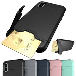 Armour Case with Hidden Credit Card Slot For iPhone 6, 6 Plus, 6S, 6S Plus, 7, 7 Plus, 8, 8 Plus, X, XR, XS, XS Max