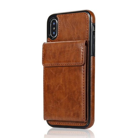 HAISSKY Vertical Magnetic Double Flip Wallet Leather Case for iPhone 5, 5S, 5C, SE, 6, 6 Plus, 6S, 6S Plus, 7, 7 Plus, 8, 8 Plus, X, XR, XS, XS Max, 11, 11 Pro, 11 Pro Max, Samsung Galaxy S7, S7 Edge, S8, S8 Plus, S9, S9 Plus, Note 8, Note 9