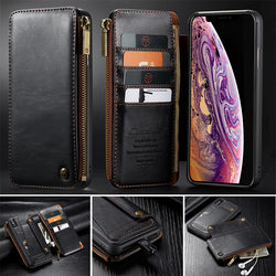 New CaseMe Detachable Luxury Leather Flip Wallet Case For iPhone 6, 6 Plus, 6S, 6S Plus, 7, 7 Plus, 8, 8 Plus, X, XR, XS, XS Max