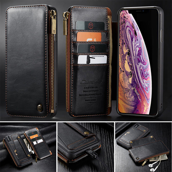 New CaseMe Detachable Luxury Leather Flip Wallet Case For iPhone 6, 6 Plus, 6S, 6S Plus, 7, 7 Plus, 8, 8 Plus, X, XR, XS, XS Max, 11, 11 Pro, 11 Pro Max, SE 2020