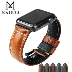 MAIKES Oil Wax Genuine Leather Strap Band For Apple Watch Series 1, 2, 3, 4, 5 - Stainless Steel Black or Silver Buckles