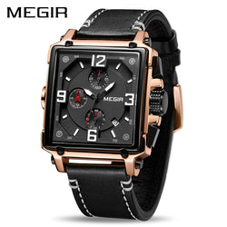 MEGIR Luxury Square Design Stainless Steel Men's Watch with Quartz Chronograph and Genuine Leather Strap