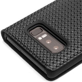 QIALINO Handmade Ultra-thin Flip Luxury Genuine Leather Case for Samsung Galaxy Note 8 - Grid or Lizard Pattern