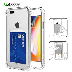 MANTIS Airbag Card Holder Transparent Silicone Phone Case For iPhone 5, 5S, 5C, SE, 6, 6 Plus, 6S, 6S Plus, 7, 7 Plus, 8, 8 Plus, X, XR, XS, XS Max, 11, 11 Pro, 11 Pro Max