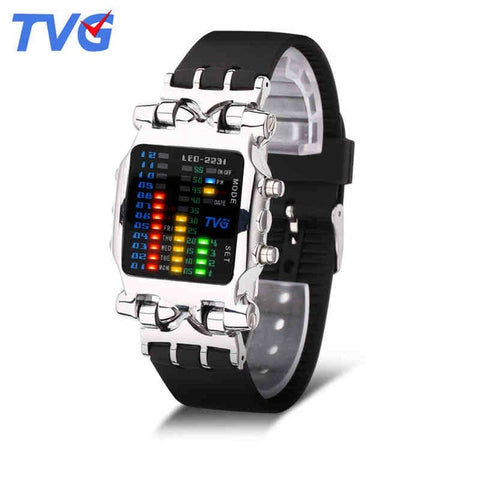 TVG Unique Luxury Digital Watch - 21 LED Binary Matrix