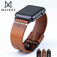 MAIKES New Design Genuine Leather Strap Band For Apple Watch Series 1, 2, 3, 4, 5 - Stainless Steel Black or Silver Buckles