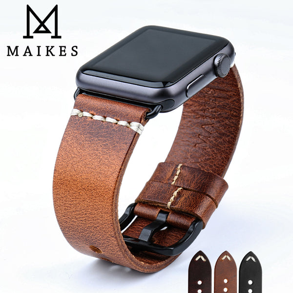 MAIKES New Design Genuine Leather Strap Band For Apple Watch Series 1, 2, 3, 4 - Stainless Steel Black or Silver Buckles
