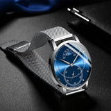 HAIQIN Official HQ-8708 Astrale Luna Luxury Branded Quartz Men's Watch - Moon Phase Day/Night Display