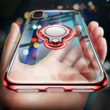 Ultra Thin Transparent Silicone Case with Magnetic Metal Ring Grip For iPhone 6, 6 Plus, 6S, 6S Plus, 7, 7 Plus, 8, 8 Plus, X, XR, XS, XS Max