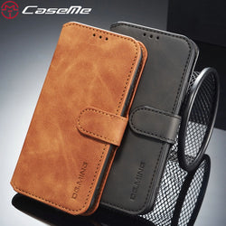 CaseMe Flip Wallet Magnetic Strap Case For iPhone 6, 6 Plus, 6S, 6S Plus, 7, 7 Plus, 8, 8 Plus, X, XR, XS, XS Max, 11, 11 Pro, 11 Pro Max