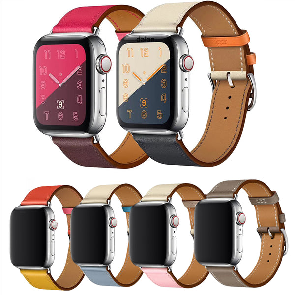 Wudada Multi-colour Leather Strap Band for Apple Watch Series 1, 2, 3, 4, 5, 6, SE