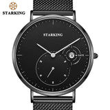 STARKING Official TM0917 Stainless Steel Quartz Men's Watch - Genuine Leather or Milanese Loop Strap - Date Calendar