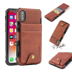 Retro Hybrid Armour Vertical Flip Wallet Case with Snap Button for iPhone 6, 6 Plus, 6S, 6S Plus, 7, 7 Plus, 8, 8 Plus, X, XR, XS, XS Max