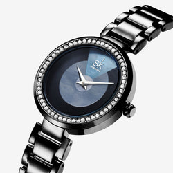 Shengke Shiny Crystal Stainless Steel Analogue Quartz Women's Watch