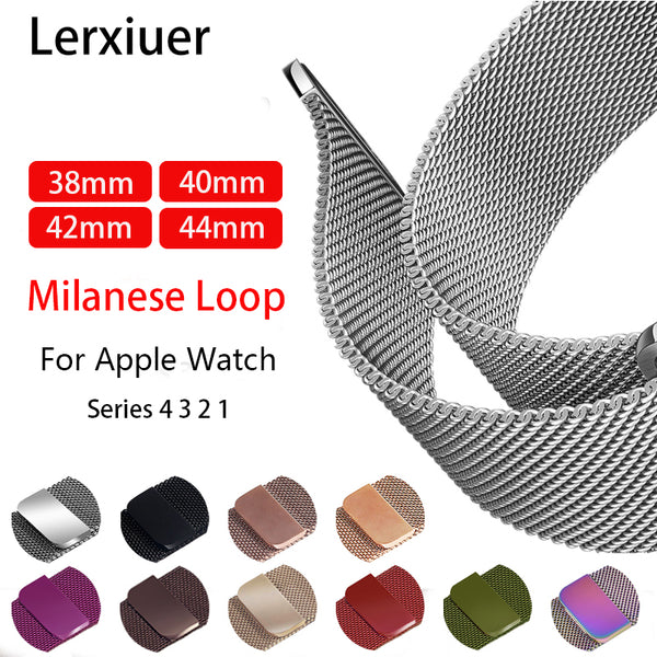 Lerxiuer Milanese Loop Strap Band for Apple Watch Series 1, 2, 3, 4 - 15 colours
