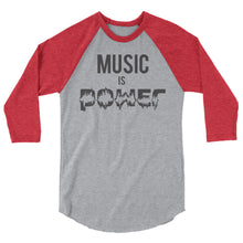 MUSIC IS POWER 3/4 sleeve classic baseball shirt