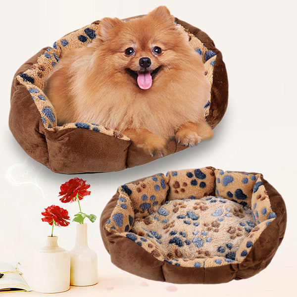 Soft Fleece Paw Print Dog Bed