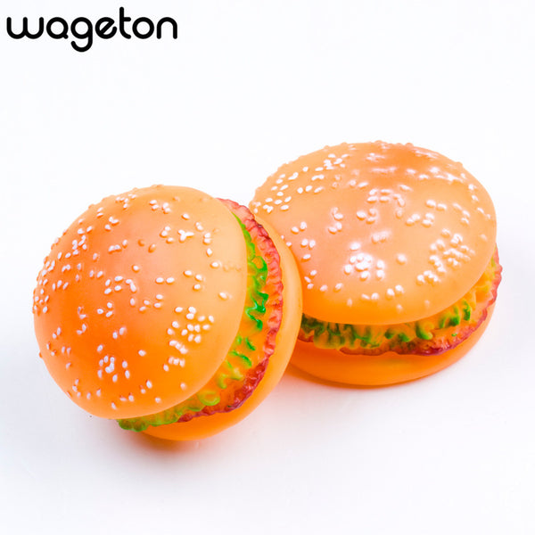 Rubber Hamburger Squeaky Chew Toy