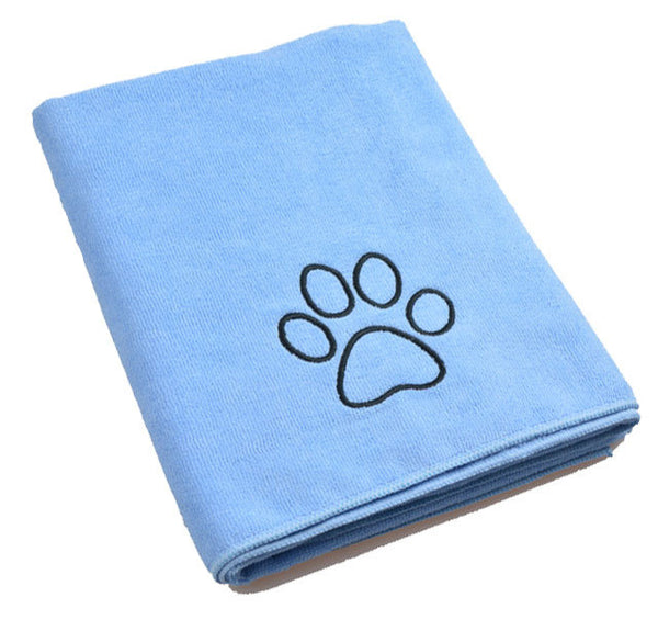 SINLAND Ultra Absorbent Microfiber Pet Towel with Embroidered Paw Print