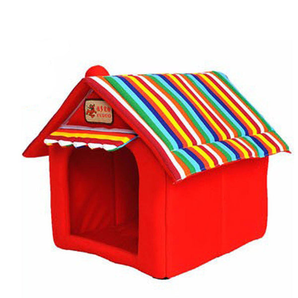 Mini House Striped Dog Bed