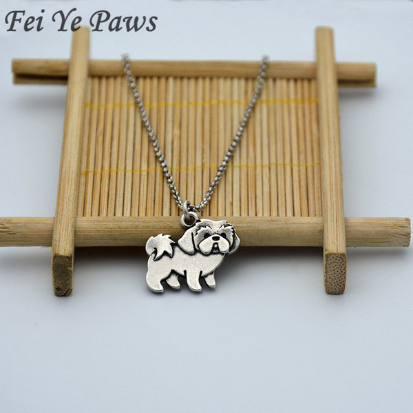 Tiny Shih Tzu Long Chain Pendant Necklace