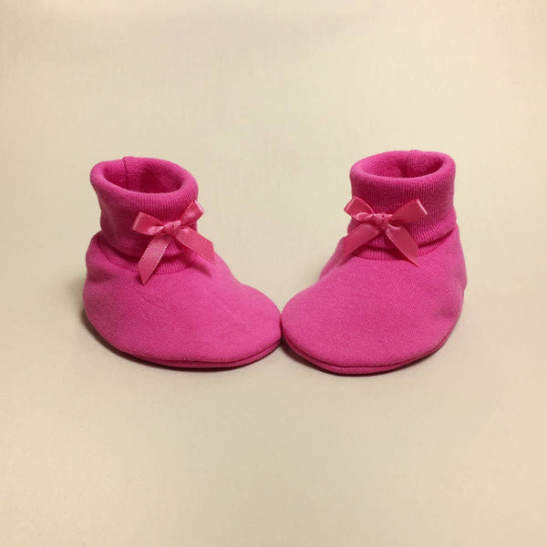 BABY BOOTIES COTTON SOLID W/BOW (+COLOURS)