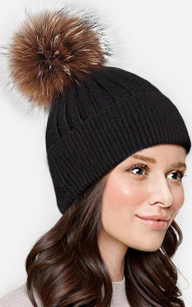Wool Real Fur Detachable Pom Pom Hat (+COLOURS)